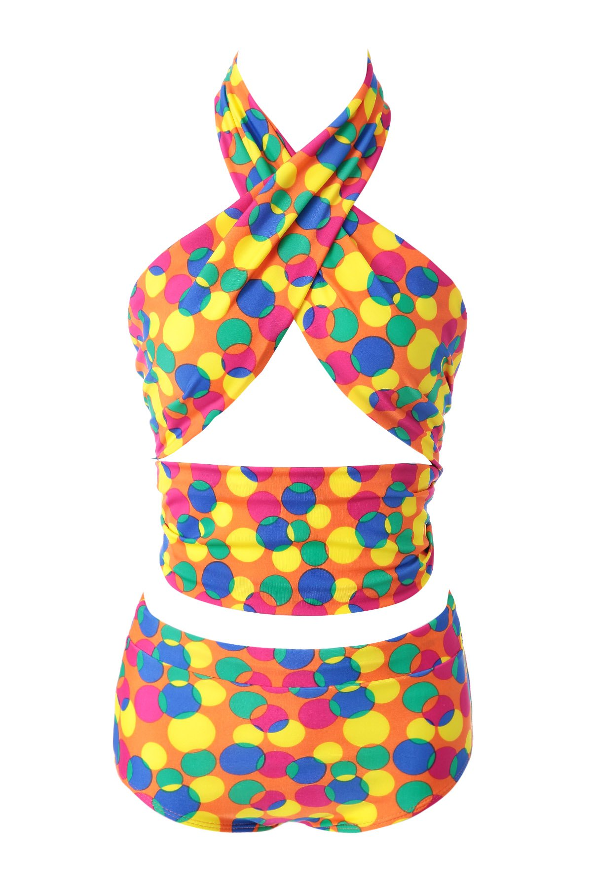 Halter Colorful Polka Dot High Waisted Bikini Set