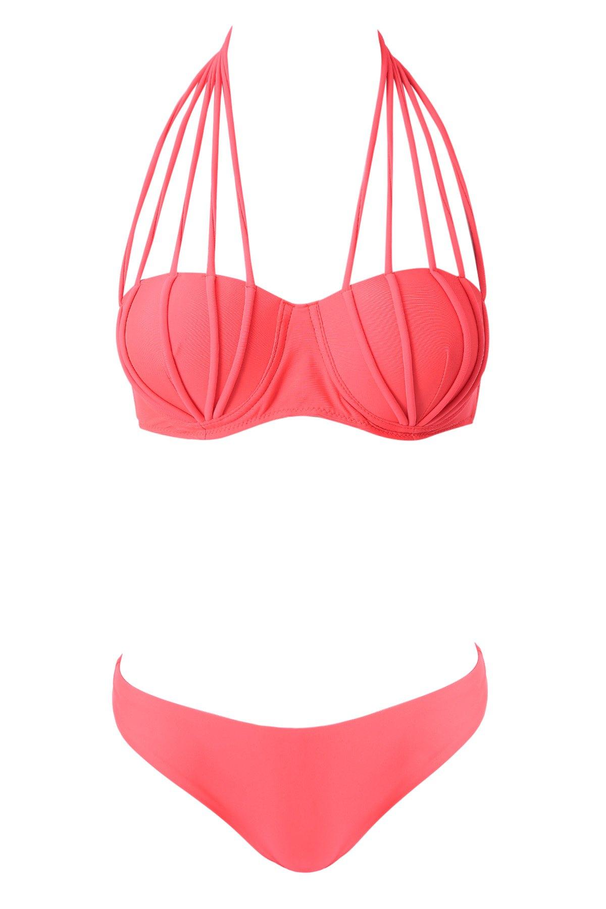 Halter Neck Solid Color Tie-Up Bikini