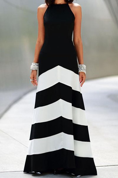 Spaghetti Strap Color Block Stripe Maxi Dress