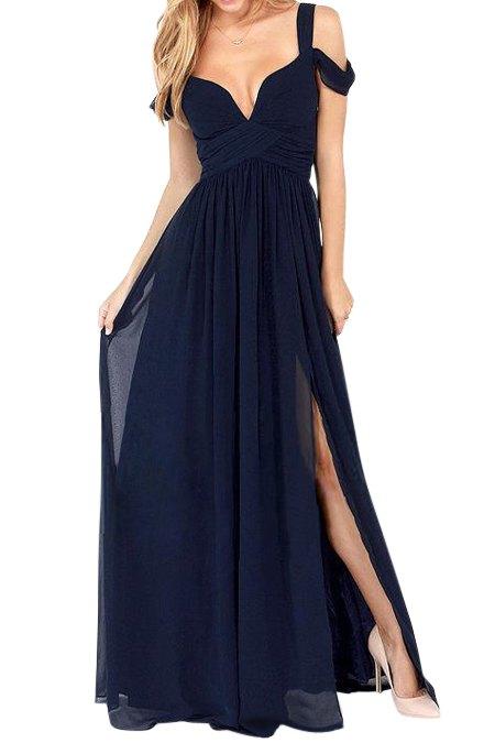 Di colore solido fessura del lato V-Neck Maxi Dress