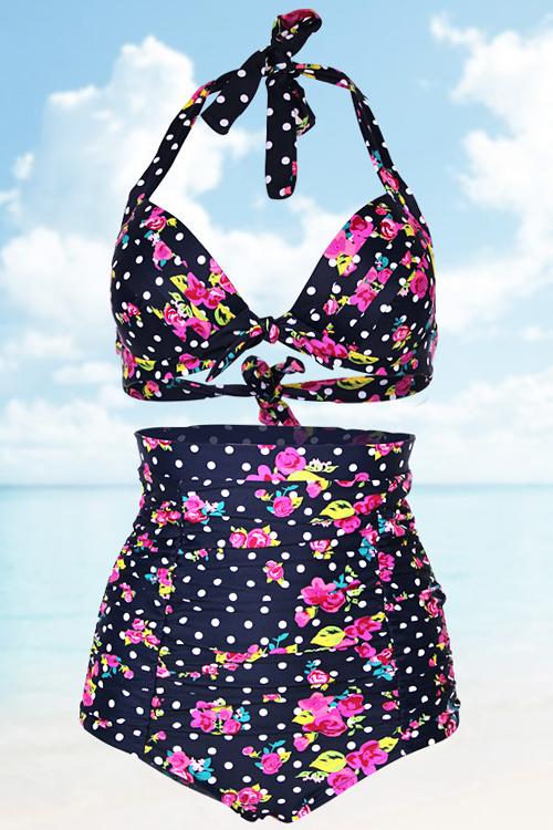 Halter Floral Print Polka Dot High Waist Bikini Set