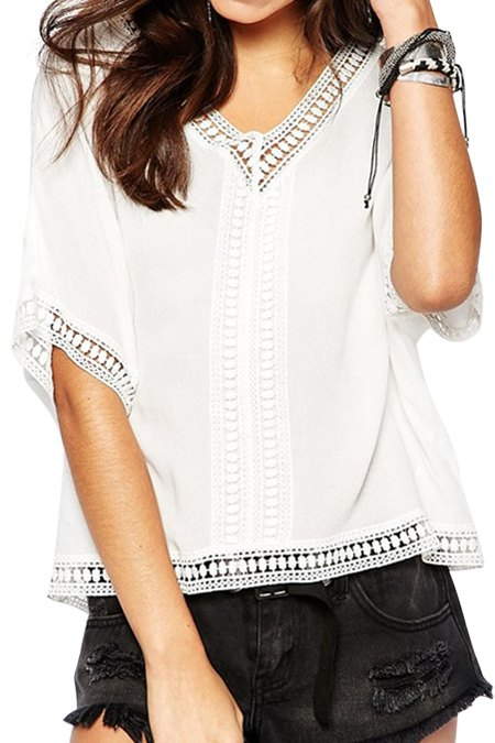White With Lace Short Sleeve Blouse