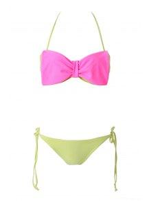 Bowknot Strapless Color Block Bikini Set
