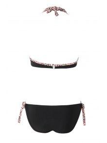 Leopard Print Splicing Bikini Set