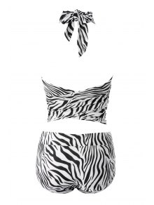 Zebra Striped Print Halter Bikini Set