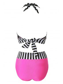 Polka Dot Striped Halter Bikini Set