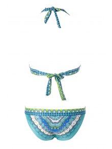 Print Halterneck Bikini Set - GREEN M