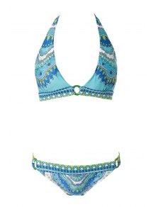 Print Halterneck Bikini Set