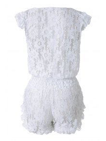 White Lace Plunging Neck Rompers