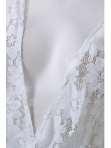White Lace Plunging Neck Rompers - WHITE S
