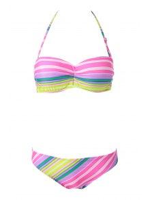 Colorful Striped Strapless Bikini Set