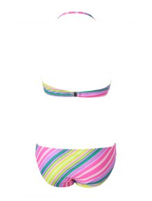 Colorful Striped Strapless Bikini Set