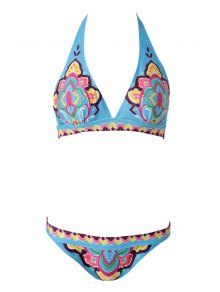 Ethnic Print Halterneck Bikini Set