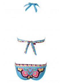Ethnic Print Halterneck Bikini Set - BLUE M