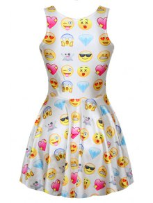 Full Emoji Print A-Line Sundress