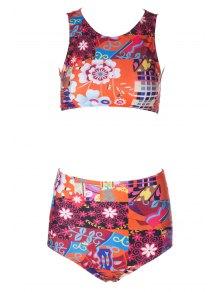 Flower Print High Waisted Bikini Set