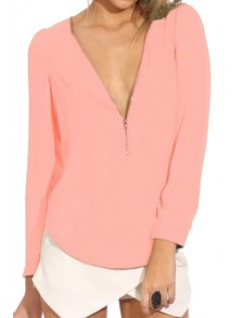 Solid Color Plunging Neck Zipper Blouse - Pink S