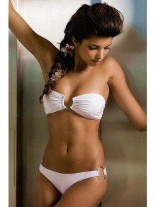 Solid Color Splicing Bikini - White S