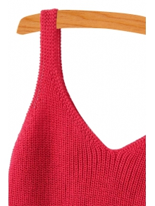 Solid Color Sleeveless Knitted Tank Top
