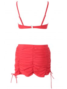 Red High Waisted Halter Bikini Set