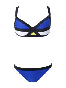 Straps Splicing Color Block Bikini Set