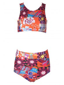 Flower Print High Waisted Bikini Set