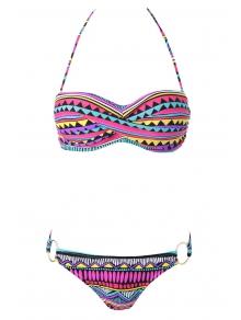 Geometric Print Color Block Bikini Set
