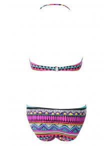 Geometric Print Color Block Bikini Set - COLORMIX S