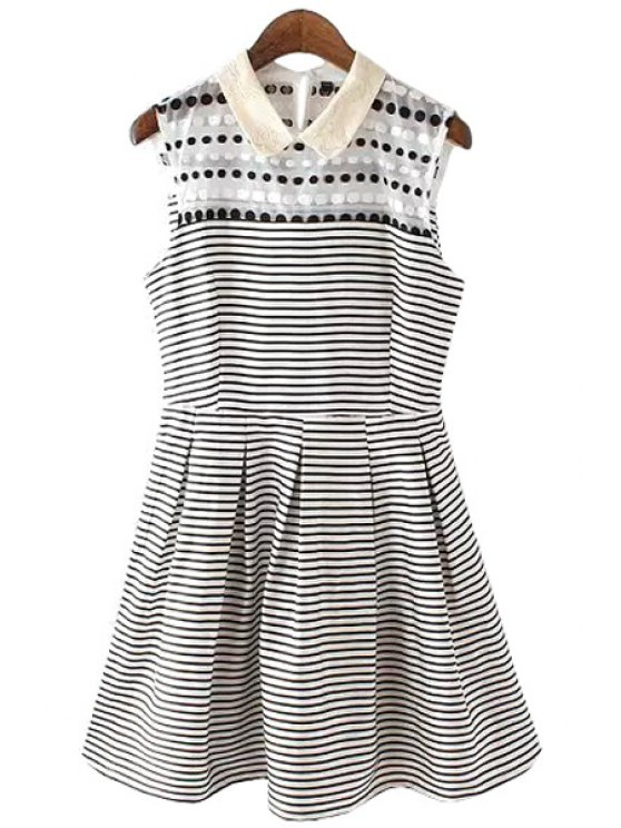 shops Stripe Polka Dot Sleeveless Dress - WHITE AND BLACK S
