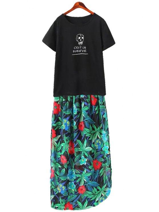 shop Skull Letter Print T-Shirt + Floral Print Skirt - BLACK S