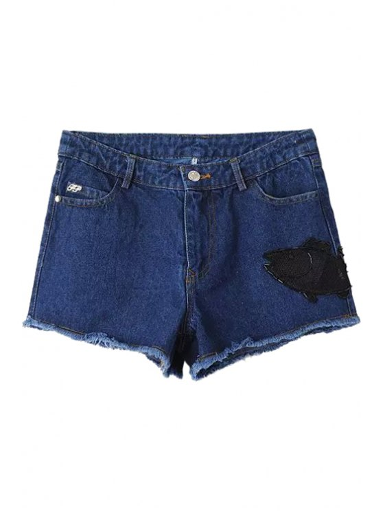 women Fish Pattern Beaded Denim Shorts - BLUE S