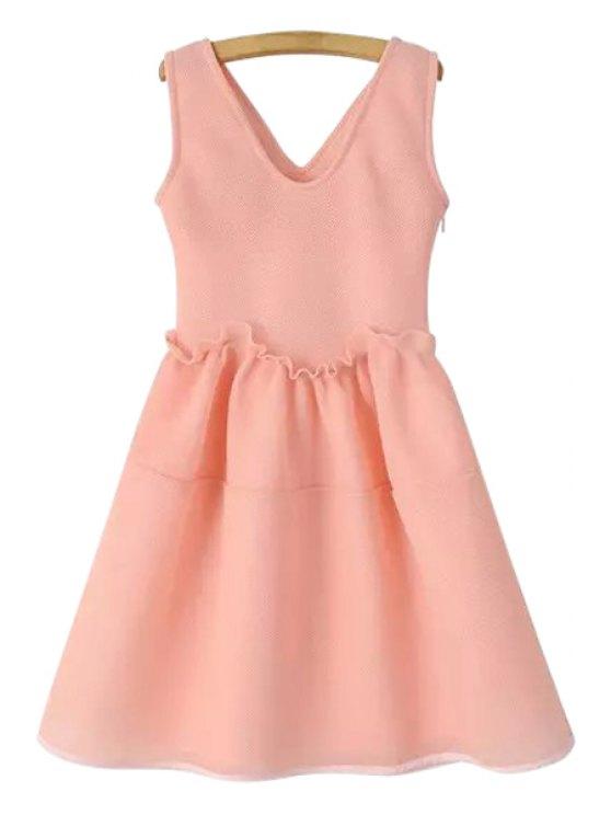 chic Pink V-Neck Sleeveless Dress - PINK S