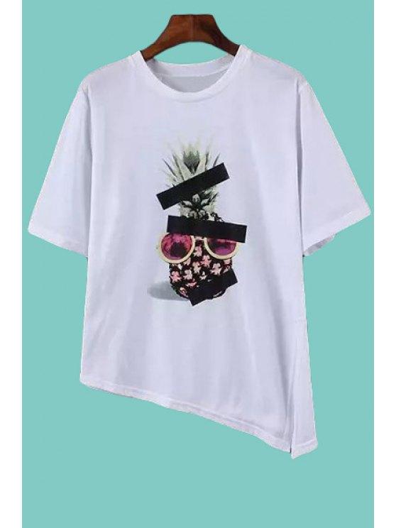 women's Pineapple Print Asymmetrical Slit T-Shirt - WHITE S