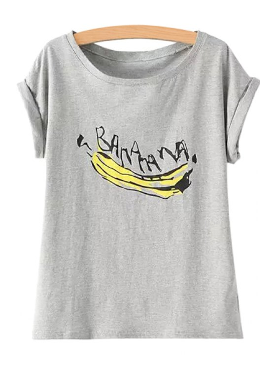 hot Banana Print Short Sleeve T-Shirt - GRAY ONE SIZE(FIT SIZE XS TO M)