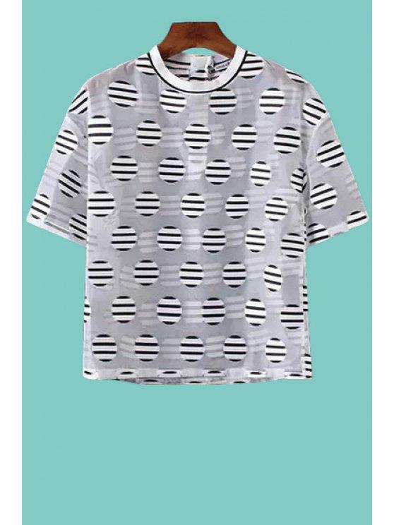 best Polka Dot Stripe Short Sleeve T-Shirt - WHITE XS