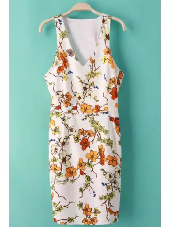 trendy V-Neck Floral Print Backless Dress - AS THE PICTURE S
