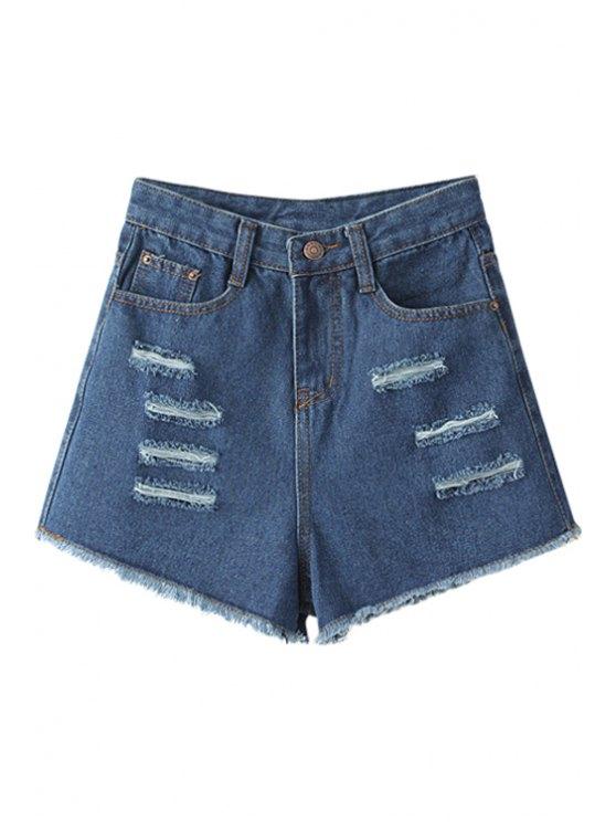 lady Broken Hole High Waisted Denim Shorts - BLUE S