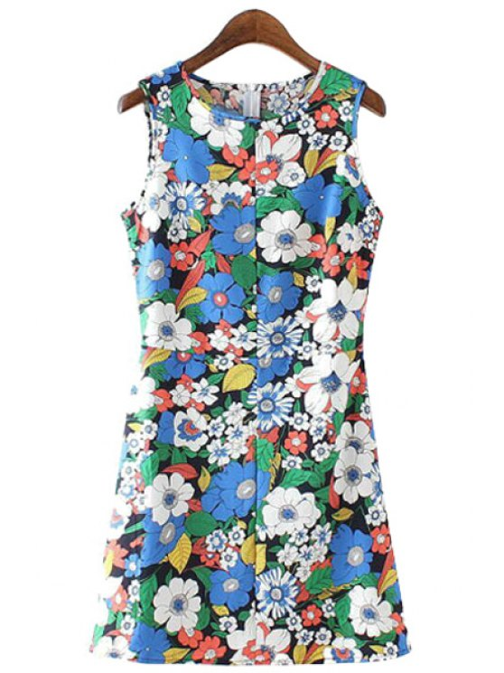 buy Sleeveless Colorful Floral Print Dress - COLORMIX S