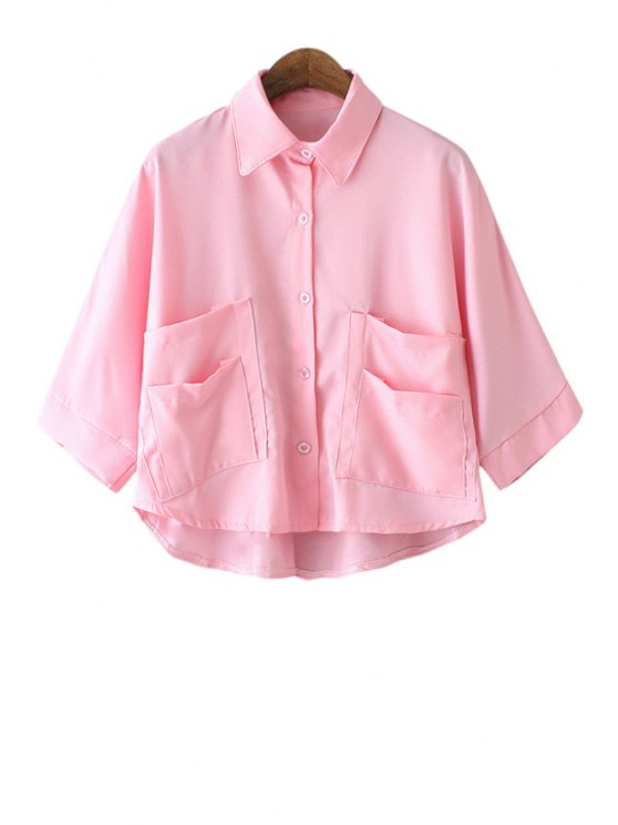 online Solid Color Pocket Half Sleeve Shirt - PINK ONE SIZE(FIT SIZE XS TO M)
