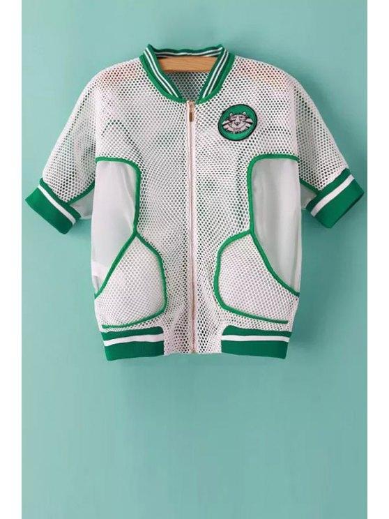 fancy Openwork Stripe Applique Short Sleeve Coat - WHITE AND GREEN S
