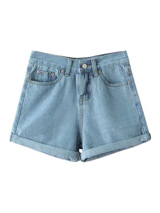 latest Solid Color High Waisted Denim Shorts - LIGHT BLUE S