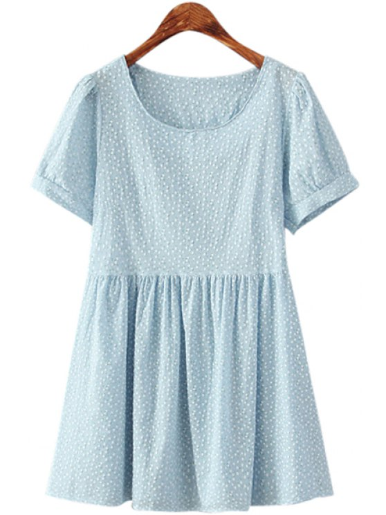 outfits Tiny Floral Short Sleeve Blue Dress - LIGHT BLUE ONE SIZE(FIT SIZE XS TO M)