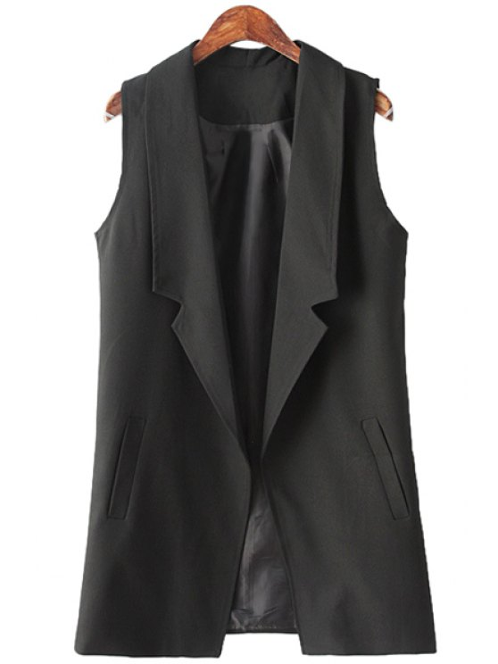 sale Black Lapel Neck Maix Waistcoat - BLACK ONE SIZE(FIT SIZE XS TO M)