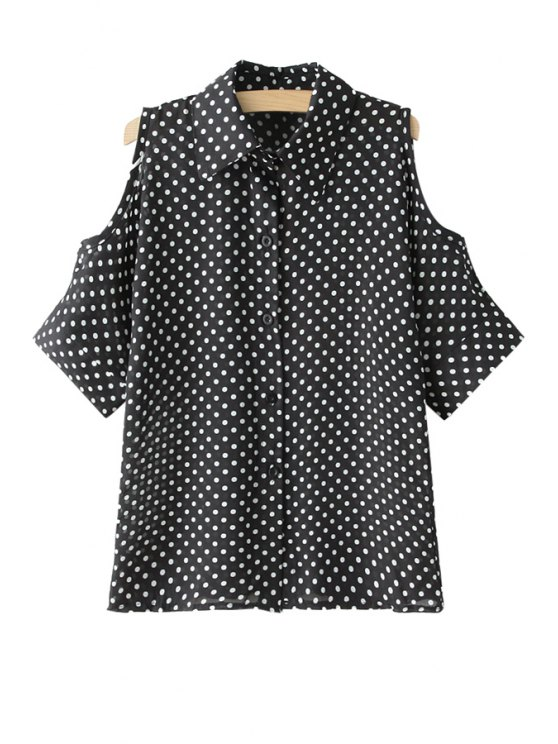 outfit Polka Dot Off-The-Shoulder Shirt - BLACK ONE SIZE(FIT SIZE XS TO M)