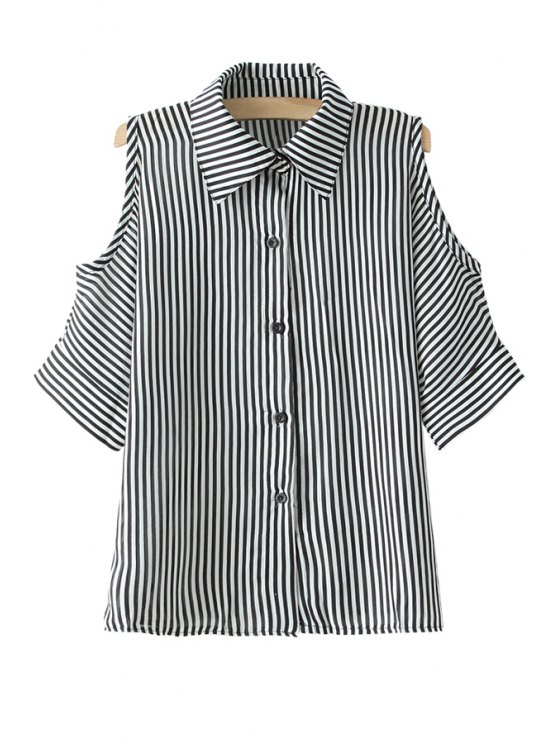 shop Stripe Off-The-Shoulder Shirt - GRAY ONE SIZE(FIT SIZE XS TO M)