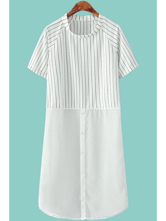 best Stripe Chiffon Spliced Short Sleeve Dress - WHITE ONE SIZE(FIT SIZE XS TO M)