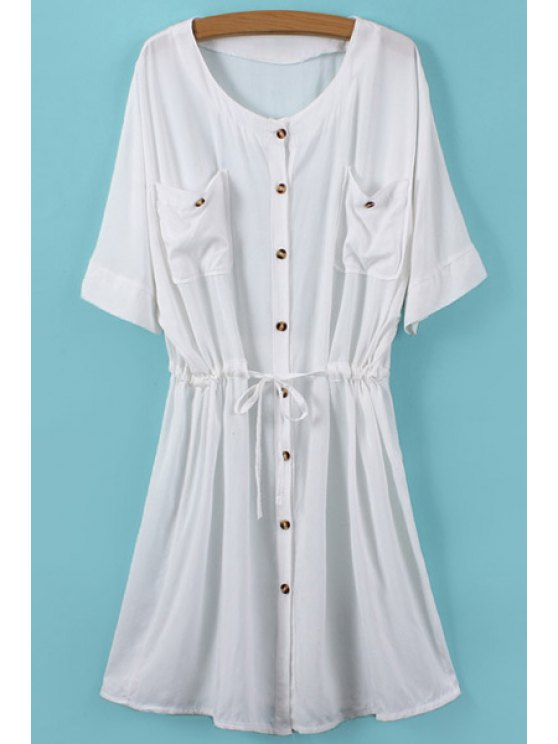 fashion Buttons Drawstring Pockets Half Sleeve Dress - WHITE ONE SIZE(FIT SIZE XS TO M)