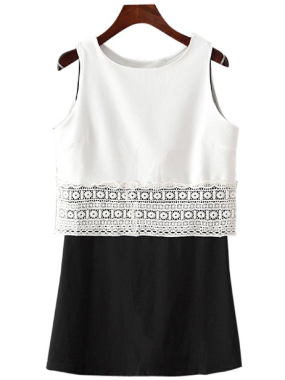 best Black Sundress and White with Lace Tank Top Twinset - WHITE AND BLACK ONE SIZE(FIT SIZE XS TO M)