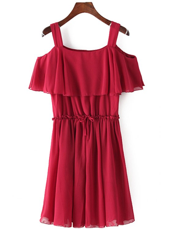 womens Red Off-The-Shoulder Ruffles Dress - RED ONE SIZE(FIT SIZE XS TO M)