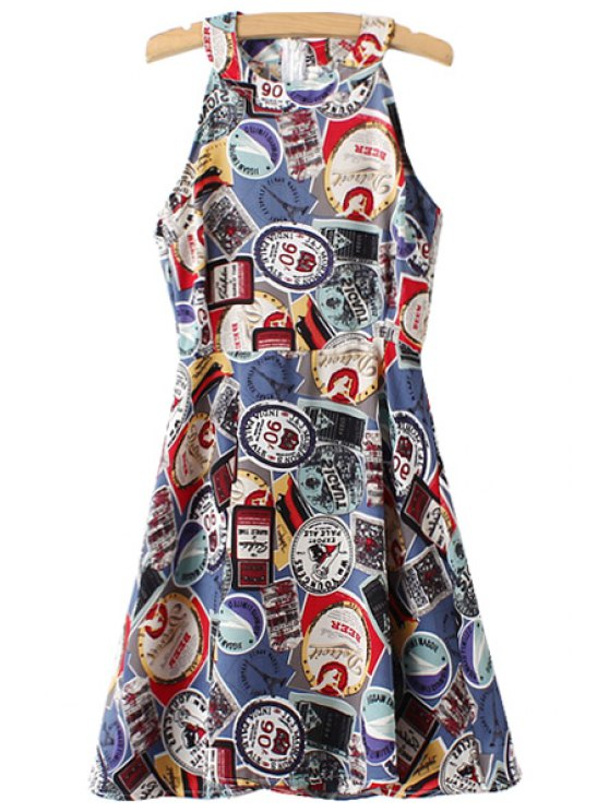 women Stamp Pattern Sleeveless Dress - BLUE ONE SIZE(FIT SIZE XS TO M)